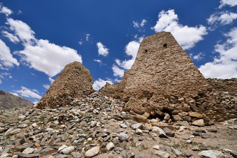 Sikt på den alternativa banan för Shakhdara dal till den Pamir huvudvägen, Tadzjikistan arkivfoto