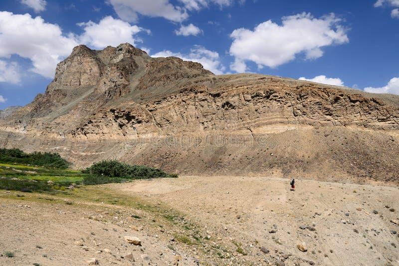 Sikt på den alternativa banan för Shakhdara dal till den Pamir huvudvägen, Tadzjikistan royaltyfria bilder