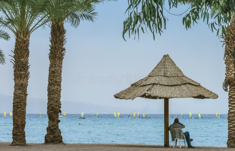 Sikt på den Aqaba golfen från Eilat, Israel royaltyfri foto