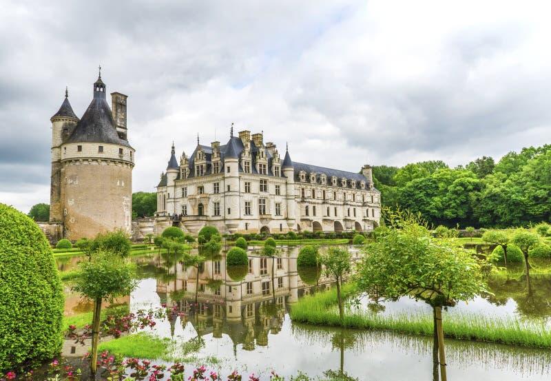 Sikt på den Chenonceau slotten royaltyfri fotografi