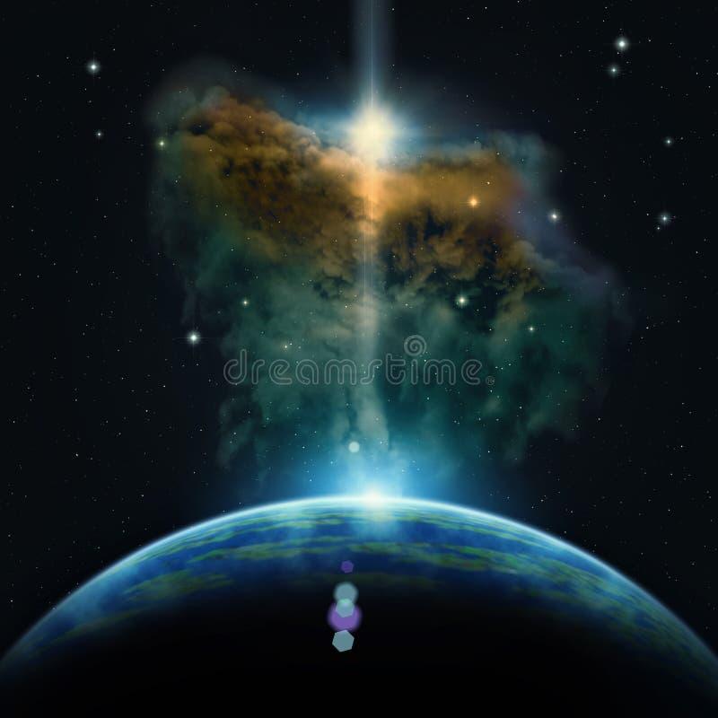 Sikt på den extrasolar planeter och nebulosan vektor illustrationer