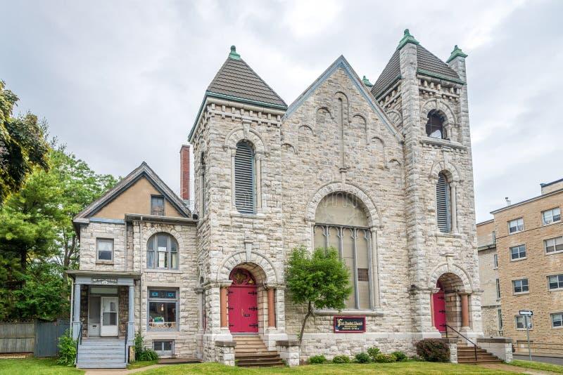 Sikt på den första baptistkyrkan i Kingston - Kanada arkivfoto
