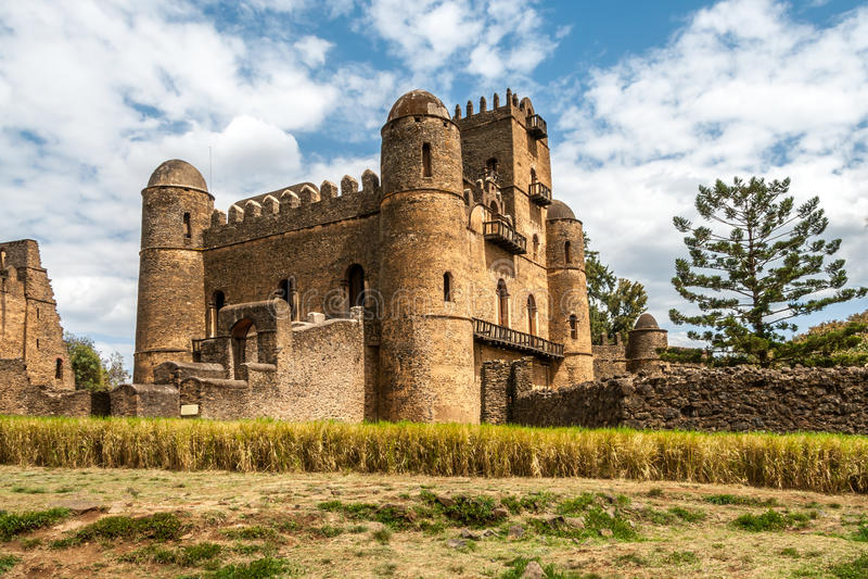 Sikt på den Fasilides slotten arkivbild