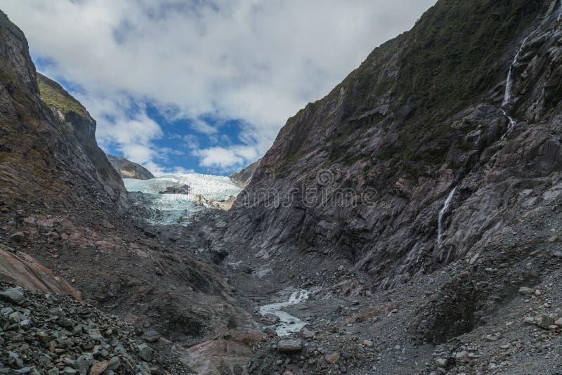 Sikt på den Franz Josef glaciären, Nya Zeeland arkivbilder