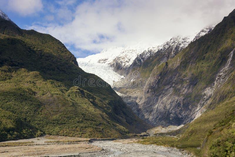 Sikt på den sceniska panoraman av Franz Josef Glacier på västkusten av Nya Zeeland royaltyfria foton