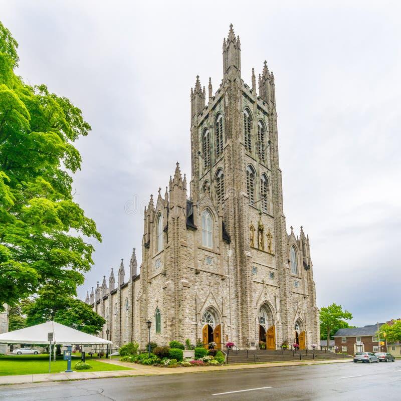 Sikt på domkyrkan av St Mary i Kingston - Kanada fotografering för bildbyråer