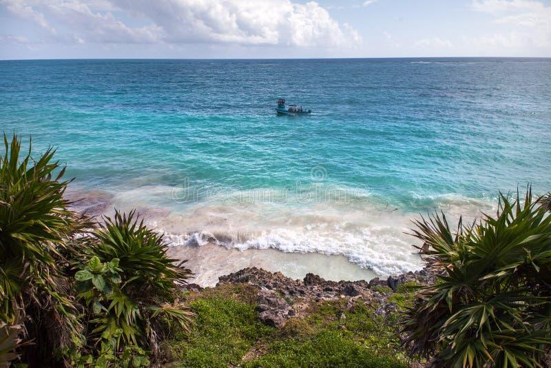 Sikt på hav Tulum Mexico fotografering för bildbyråer