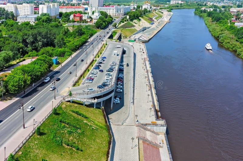 Sikt på historisk mitt av Tyumen Ryssland royaltyfri bild