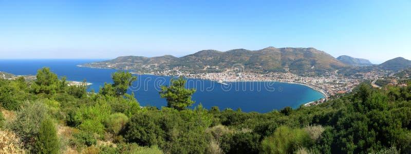 Sikt på huvudstaden av den Samos ön royaltyfri fotografi