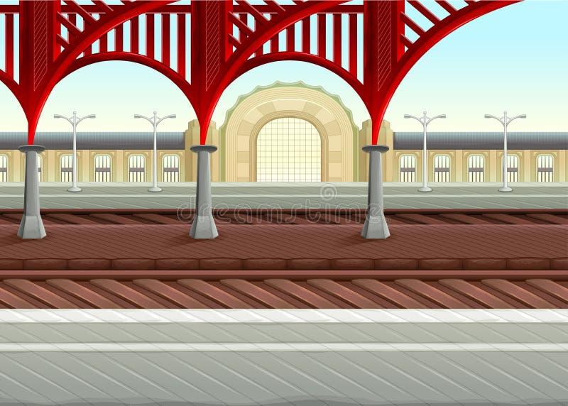Sikt på järnvägar i drevstationen vektor illustrationer