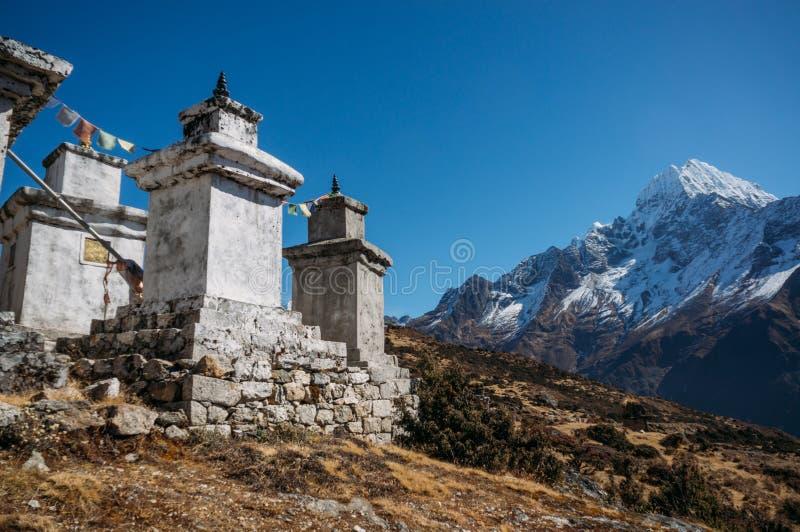 sikt på konstruktioner i lägre Pangboche by, Nepal, Khumbu, royaltyfria foton