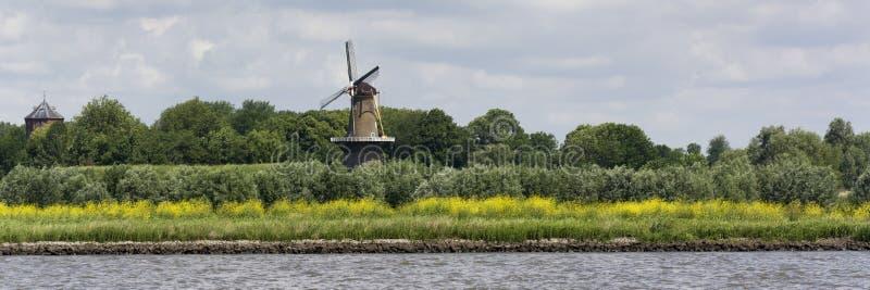 Sikt på kusten av den Merwede floden i Nederländerna Typisk holländskt landskap med den traditionella väderkvarnen arkivbilder