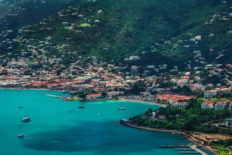 Sikt på lagun/porten Charlotte Amalie i St Thomas fotografering för bildbyråer