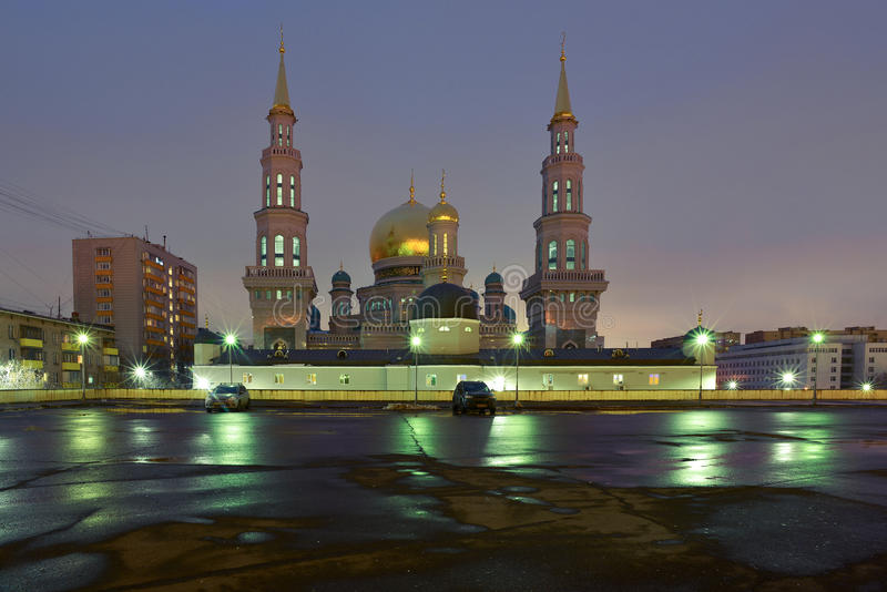 Sikt på Moskvadomkyrkamoské i natten fotografering för bildbyråer
