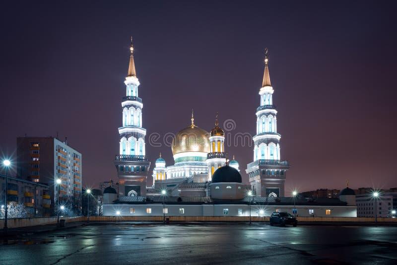 Sikt på Moskvadomkyrkamoské i natten royaltyfri bild