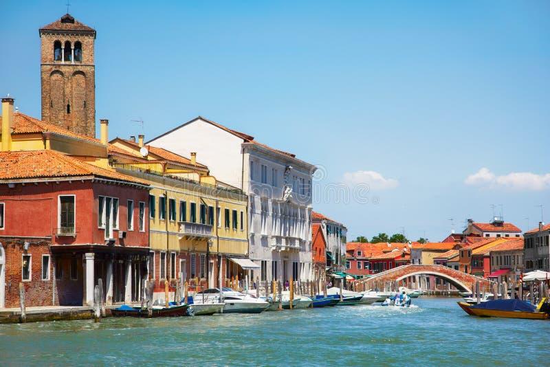 Sikt på Murano kanaler, Italien royaltyfri foto