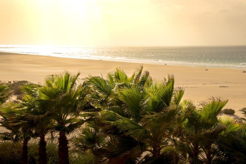Sikt på praiaen de Chaves på solnedgången royaltyfri fotografi