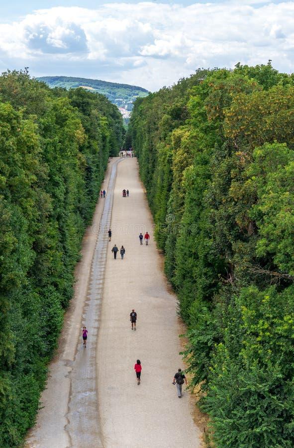 Sikt på Schonbrunn slottträdgårdar arkivfoton