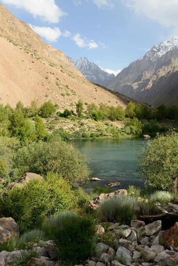 Sikt på sjön i Jizeu Valle i de Pamirs bergen, Tadzjikistan fotografering för bildbyråer