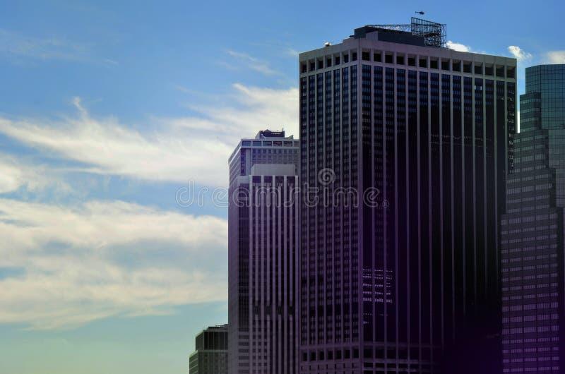 Sikt på skyskrapor på New York arkivbilder