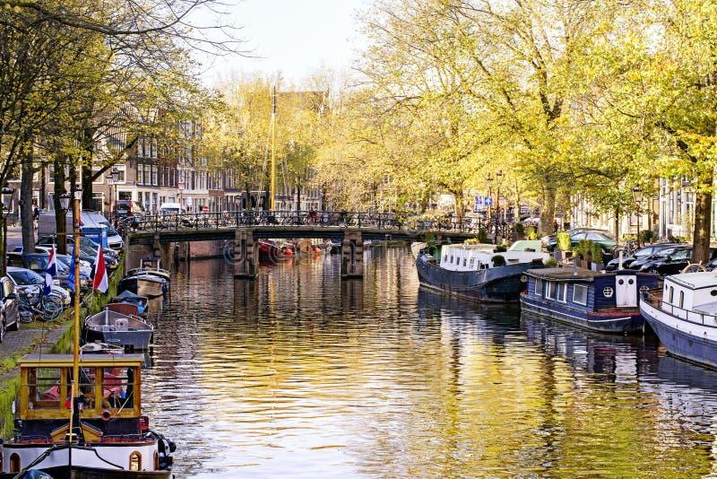 Sikt på staden av Amsterdam, huvudstad av Nederländerna Kanaler och canalboats, träd och vatten royaltyfria foton