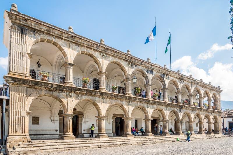 Sikt på stadshuset i Antigua Guatemala arkivfoto