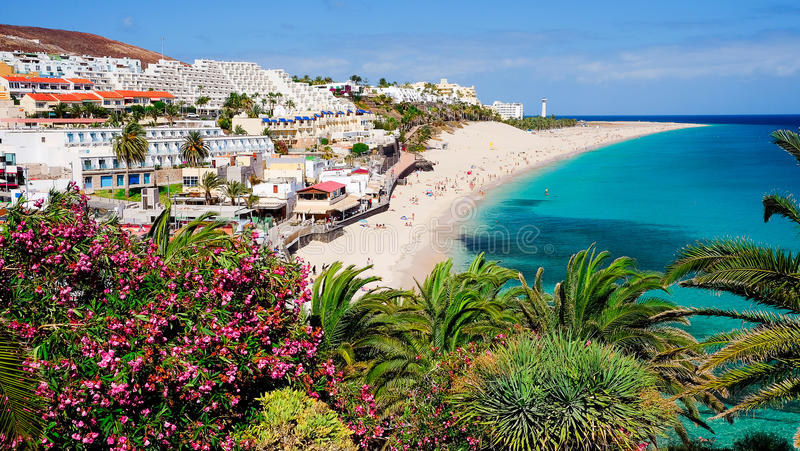 Sikt på stranden Playa de Morro Jable Morro Jable, Fuerteventura, Spanien arkivfoto