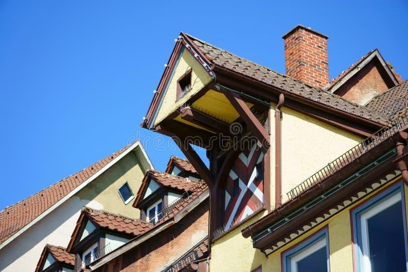 Sikt på tak av den gamla tyska staden Rottweil arkivbild
