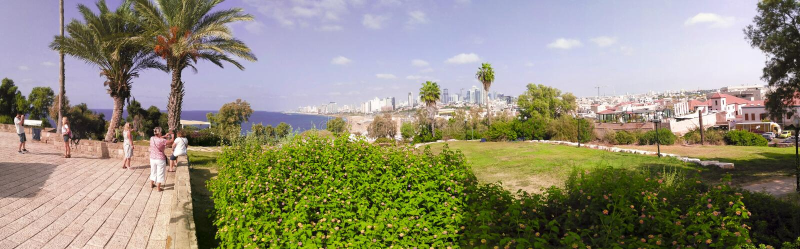 Sikt på Tel Aviv från Jaffa arkivbilder
