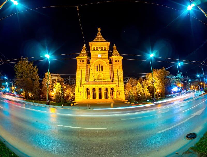 Sikt på Timisoara den ortodoxa domkyrkan royaltyfri bild