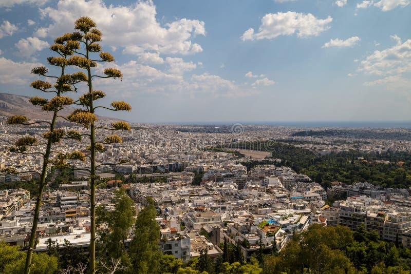 Sikt till Aten arkivfoton