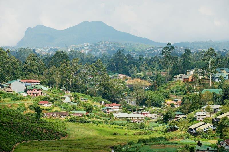 Sikt till bygdbyggnaderna med härligt landskap i Nuwara Eliya, Sri Lanka arkivfoto