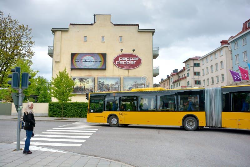 Sikt till de historiska byggnaderna och sceniskt reflektera i skönheten i Uppsala, Sverige arkivfoton