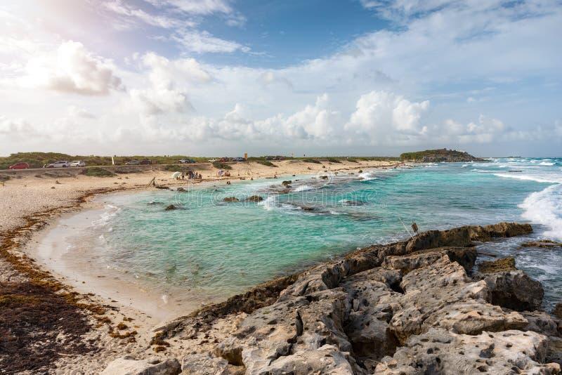 Sikt till den Playa Publica stranden på den Cozumel ön royaltyfri bild