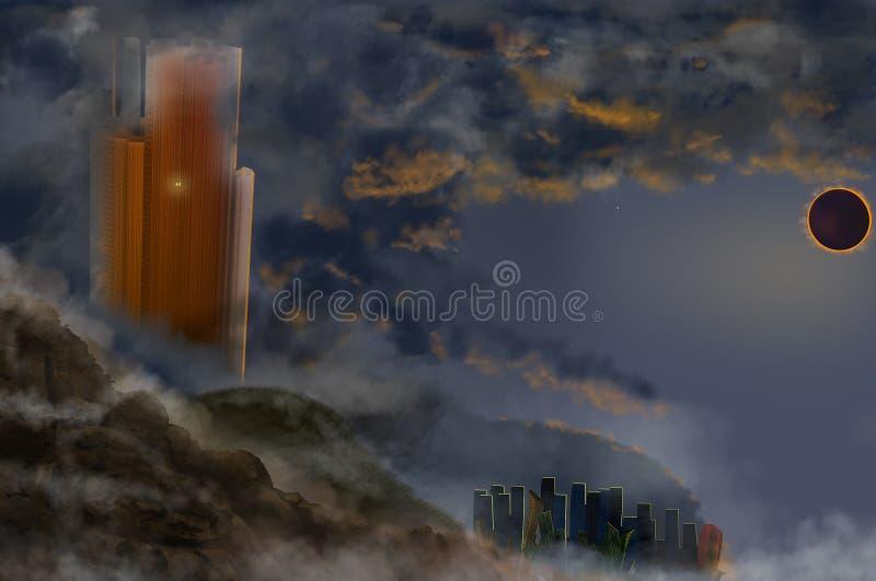 Sikt till det futuristiska landskapet med svart solf?rm?rkelse royaltyfri illustrationer
