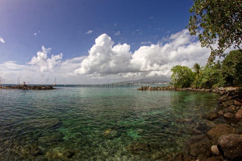 Sikt till Fort de France från La Pointe du Anfall - Martinique arkivfoto