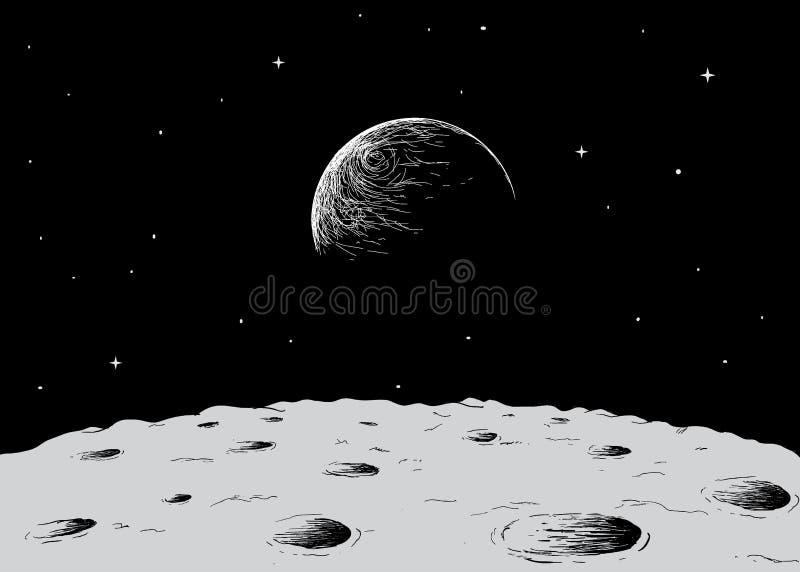 Sikt till jord från yttersida av månen stock illustrationer