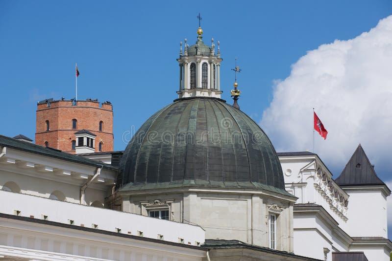 Sikt till kupolen av domkyrkan med det Gediminas tornet på bakgrunden i Vilnius, Litauen royaltyfria foton