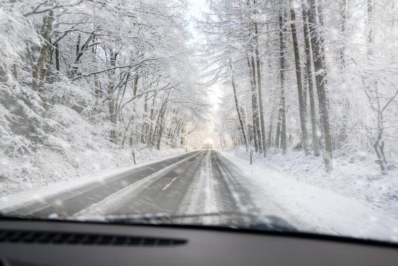 Sikt till och med vindrutan, när köra farligt på en hal skogväg i snön, kopieringsutrymme royaltyfri bild