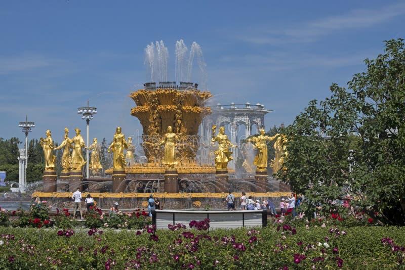 Sikt till springbrunnen av kamratskap av folk och den centrala paviljongen på VDNKH arkivbilder