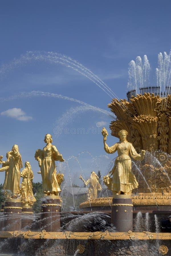 Sikt till springbrunnen av kamratskap av folk och den centrala paviljongen på VDNKH arkivfoto
