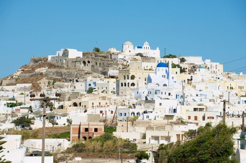 Sikt till staden av Pyrgos i Pyrgos, Grekland royaltyfri foto