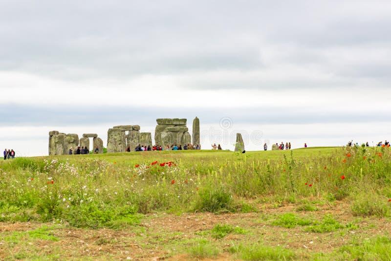 Sikt till Stonehenge, England arkivbild