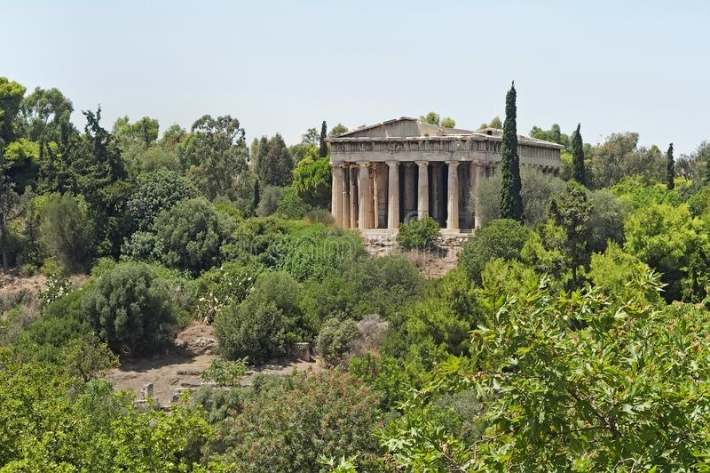 Sikt till templet av Hephaestus i Aten, Grekland arkivbild