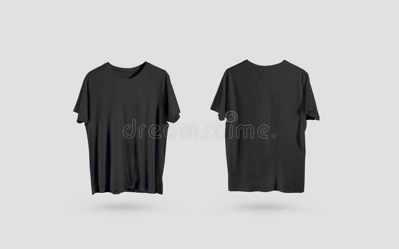 Sikt tom svart t-skjorta för främre och tillbaka sida, designmodell stock illustrationer