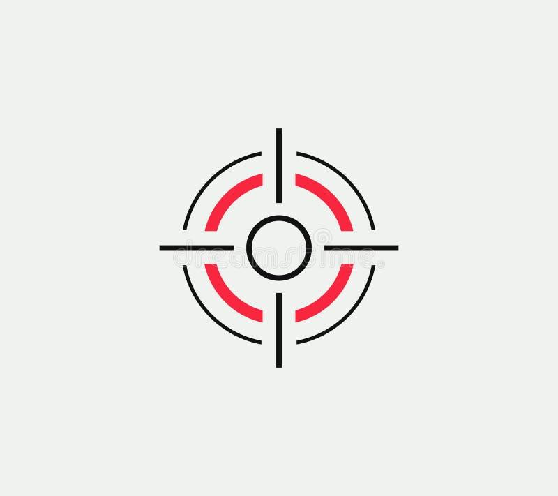 Sikta på den linjära stiliserade symbolen för vektorn, det abstrakta tecknet för målet, målsymbolet, mallen för vapenaffärslogoen vektor illustrationer