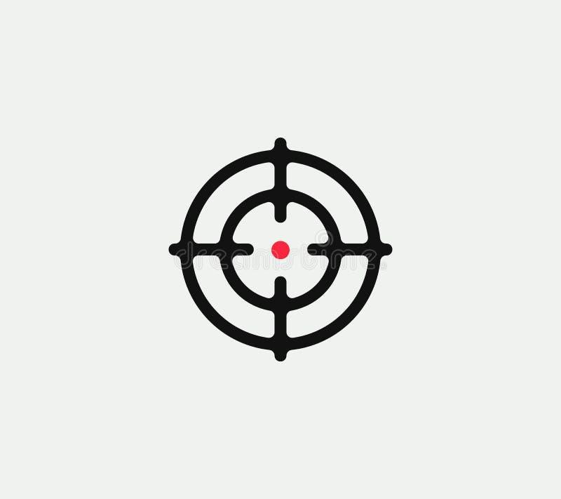 Sikta på den linjära stiliserade symbolen för vektorn, det abstrakta tecknet för målet, målsymbolet, mallen för vapenaffärslogoen royaltyfri illustrationer