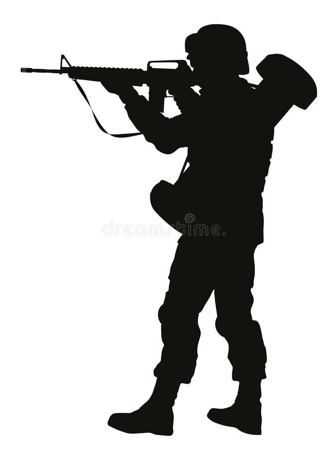 Sikta soldaten Krigaretema vektor illustrationer