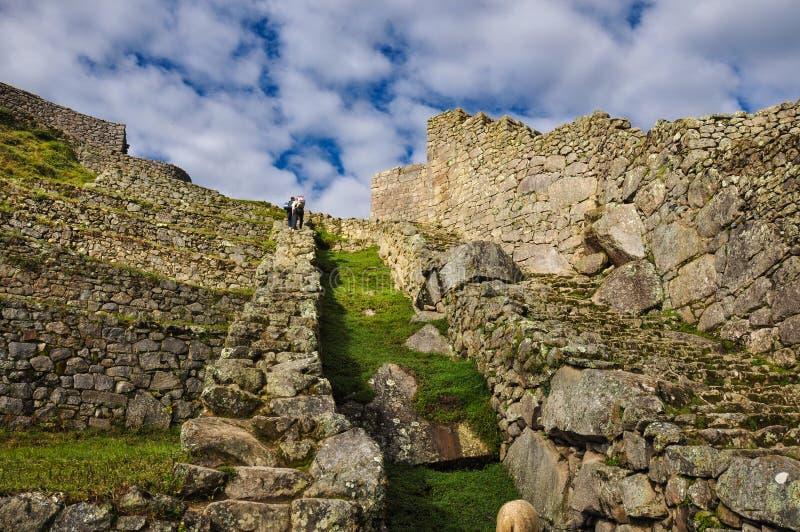Sikten över den Machu Picchu incaen fördärvar, Peru arkivfoton