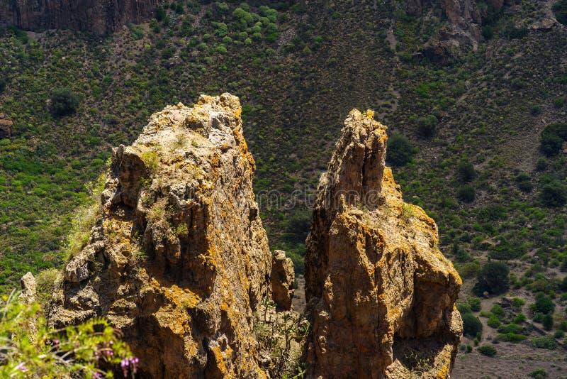 Sikten över två vaggar i den Bandama krater, Caldera de Bandama, Gran Canaria, kanariefågelöar fotografering för bildbyråer